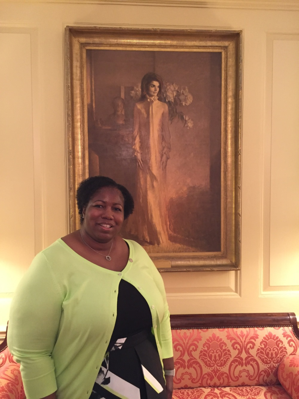 In front of Jackie Kennedy Portrait